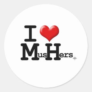 I Heart Mushers Round Sticker