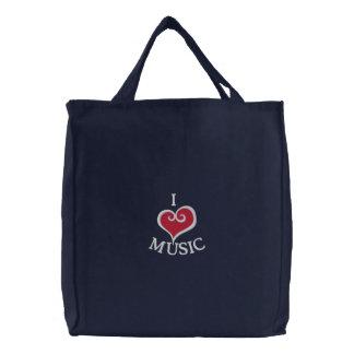 I Heart Music Navy Tote Bag