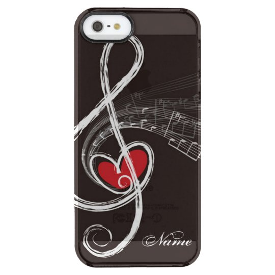 I HEART MUSIC Treble Clef Black Personalised Clear
