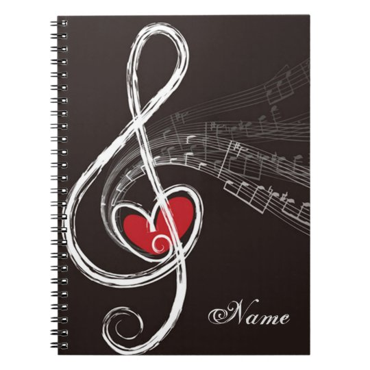 I HEART MUSIC Treble Clef Black Personalised Notebook