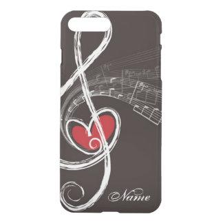 I HEART MUSIC Treble Clef Black Personalized iPhone 8 Plus/7 Plus Case
