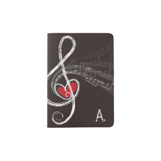 I HEART MUSIC Treble Clef Black Personalized Passport Holder