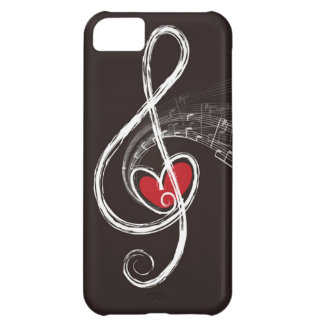 I HEART MUSIC Treble Clef Red Heart Black iPhone 5C Case