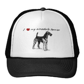 """""""I """"heart"""" my Airedale Terrier with sharp graphic! Trucker Hats"""