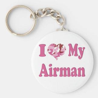 I Heart My Airman Basic Round Button Key Ring