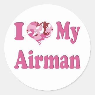 I Heart My Airman Classic Round Sticker