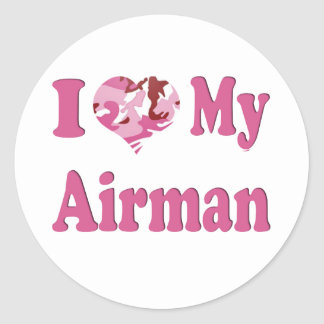 I Heart My Airman Round Sticker