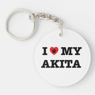 I Heart My Akita Acrylic Keychain