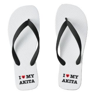 I Heart My Akita Flip Flops