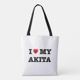 I Heart My Akita Tote Bag