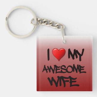 I Heart My Awesome Wife Key Chain