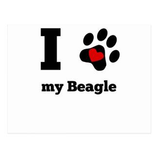 I Heart My Beagle Postcard