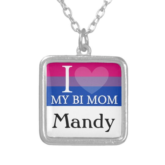 I Heart My Bi Mum Silver Plated Necklace