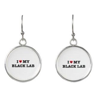 I Heart My Black Lab Drop Earrings