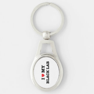 I Heart My Black Lab Silver-Colored Oval Key Ring