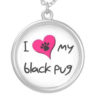 I heart my Black Pug Silver Plated Necklace