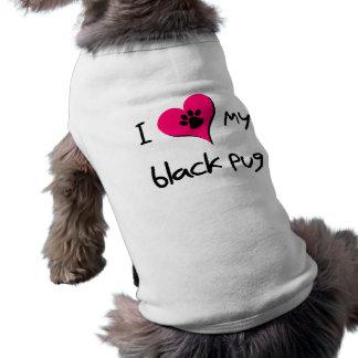 I heart my Black Pug Sleeveless Dog Shirt