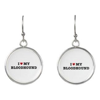I Heart My Bloodhound Drop Earrings