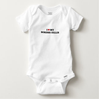 I Heart My Border Collie Baby Bodysuit