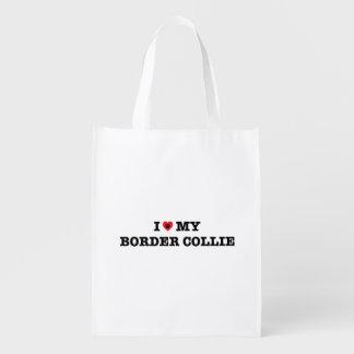 I Heart My Border Collie Reusable Bag