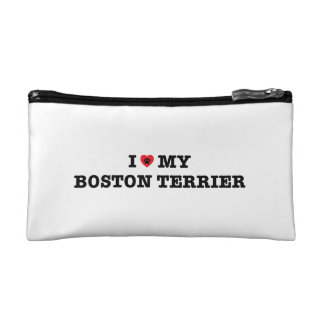 I Heart My Boston Terrier Cosmetic Bag