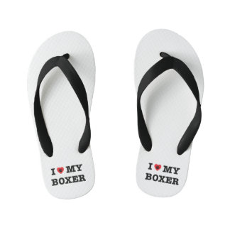 I Heart My Boxer Kid's Flip Flops