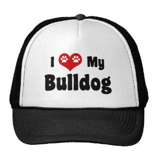 I Heart My Bulldog Mesh Hats
