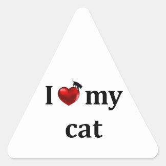 I Heart My Cat Triangle Sticker
