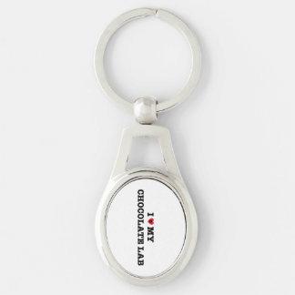 I Heart My Chocolate Lab Metal Keychain