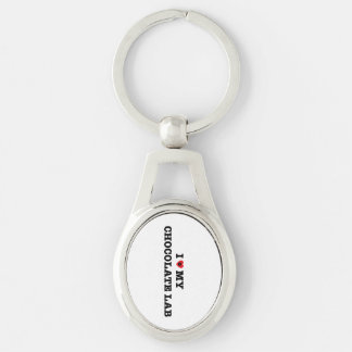I Heart My Chocolate Lab Metal Keychain Silver-Colored Oval Key Ring
