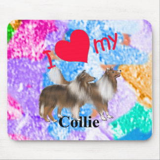 I Heart My Collie Mouse Pads