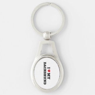 I Heart My Dachshund Metal Keychain Silver-Colored Oval Key Ring