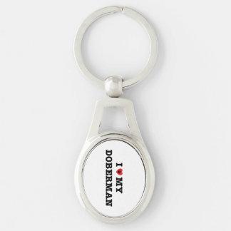 I Heart My Doberman Metal Keychain Silver-Colored Oval Key Ring