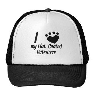 I Heart My Flat-Coated Retriever Mesh Hats