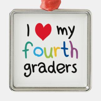 I Heart My Fourth Graders Teacher Love Silver-Colored Square Decoration