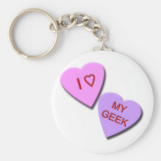 I Heart My Geek Candy Hearts Basic Round Button Key Ring