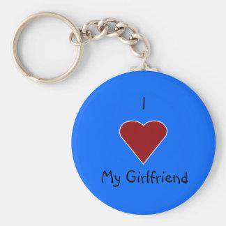 I Heart My Girlfriend Basic Round Button Key Ring
