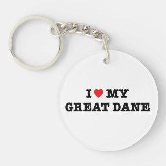 I Heart My Great Dane Acrylic Keychain