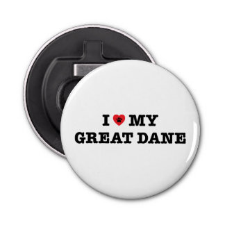 I Heart My Great Dane Bottle Opener Fridge Magnet