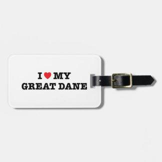 I Heart My Great Dane Luggage Tag