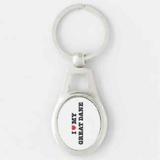 I Heart My Great Dane Metal Keychain Silver-Colored Oval Key Ring