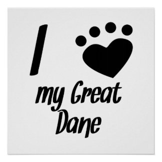 I Heart My Great Dane Print