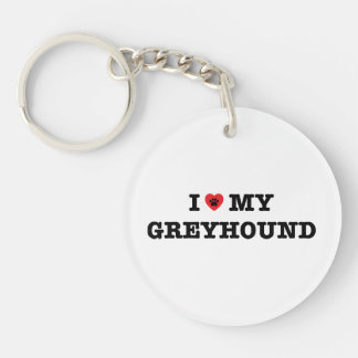 I Heart My Greyhound Acrylic Keychain