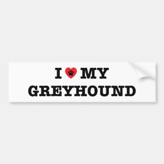 I Heart My Greyhound Bumper Sticker