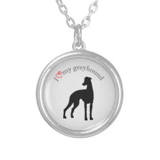 I heart my greyhound round pendant necklace