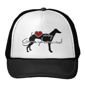 """I """"heart"""" my Greyhound"""" words with graphi Mesh Hats"""
