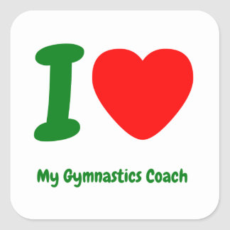 I Heart My Gymnastics Coach Square Sticker