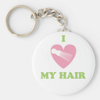 I Heart My Hair Fashion Basic Round Button Key Ring