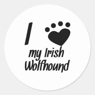 I Heart My Irish Wolfhound Round Sticker