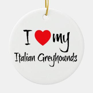I Heart My Italian Greyhound Dogs Christmas Ornament
